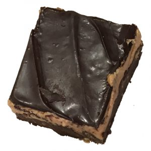 Butch Bar - Crunchy chocolate cookie base, a thick layer of creamy peanut butter and a dark chocolate layer on top
