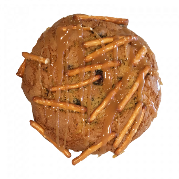 Sticky Nikki cookie - chocolate chip cookie topped with pretzel sticks, caramel, and sea salt