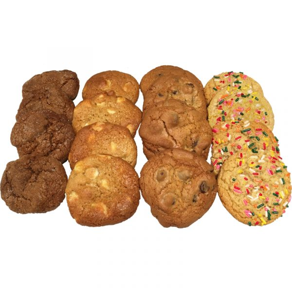 A variety of our mini cookies - ginger snaps, white macadamia nut, chocolate chip, and sugar cookies