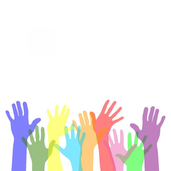 Donations image - Rainbow colored hands reaching up