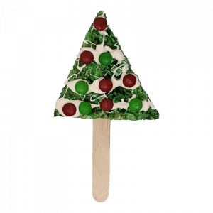 Holiday Rice Krispie treat in the shape of a Christmas tree with M&M decorations on a stick